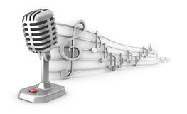 Satz des Mikrofons und des Personals der musikalischen Anmerkungen Stockbilder