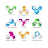 Satz des minimalen geometrischen Mehrfarbensymbolsatzes formt Modische Ikonen und Firmenzeichen Geschäft unterzeichnet Symbole, A Stockbilder