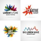 Satz des modernen bunten abstrakten Logoemblemvektors Lizenzfreie Stockfotos