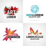 Satz des modernen bunten abstrakten Logoemblemvektors Stockfoto