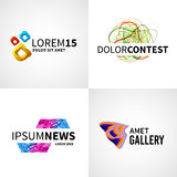 Satz des modernen bunten abstrakten Nachrichtennetzwettbewerbs Stockbilder