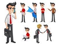 Satz des modernen Geschäftsmannes in der verschiedenen Haltungs-Zeichentrickfilm-Figur Stockfoto