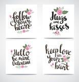Satz des modischen Hippies Valentine Cards Hand gezeichnete Vektorhintergründe Satz calligraphics des Valentinsgrußes vektor abbildung