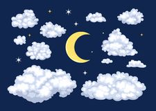Satz des nächtlichen Himmels Wolken von verschiedenen Formen und von Mond lizenzfreie abbildung