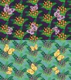 Satz des nahtlosen Blumen- und Schmetterlingsmusters Lizenzfreies Stockbild