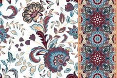 Satz des nahtlosen Blumenmusters und der Grenze für Design Vektorillustration des Handabgehobenen betrages Nahtloser Hintergrund  Stockbilder