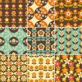 Satz des nahtlosen Entwurfs der Muster-70s Stockbilder
