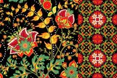 Satz des nahtlosen mit Blumenhintergrundes und der Grenze mit Fantasieblumen, Blüte und Urlaub Dekorativer Mustersatz des Vektors Lizenzfreie Stockbilder