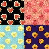 Satz des nahtlosen Musters der Frucht Wassermelone, Granat, Persimone, Zitrone Stockfotografie