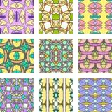 Satz des nahtlosen Musters der mehrfarbigen abstrakten Verzierung Stockfoto