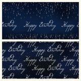 Satz des nahtlosen Musters des festlichen Geburtstagsfeuerwerks, das in den verschiedenen Formen funkeln auf schwarzem Hintergrun Lizenzfreies Stockbild