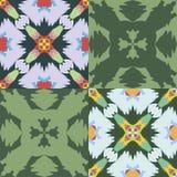 Satz des nahtlosen Ornamental kopiert Colorfull und grüne Töne Lizenzfreies Stockfoto