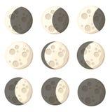 Satz des natürlichen Satelliten des unterschiedlichen Mondphasenraum-Gegenstandes der Erdvektorillustration lokalisiert auf weiße Stockfotografie