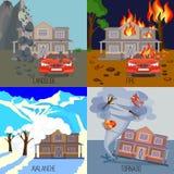 Satz des Naturkatastrophefahnenerdrutschs, Feuer, Lawine, Tornado Stockbild