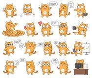 Satz des netten Katzencharakters mit verschiedenen Gefühlen Lizenzfreies Stockbild