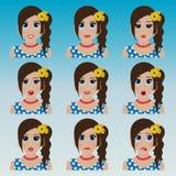 Satz des netten Mädchens mit Blumen Emoticons Lizenzfreie Stockfotos