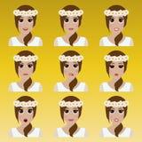Satz des netten Mädchens mit Blumen Emoticons Stockfotos
