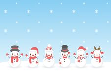 Satz des netten Schneemannes der Charakterkarikatur stock abbildung