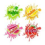 Satz des neuen Konzeptes der Juice Logo Fruits Over Paint Splash-Hintergrund-Naturkost-landwirtschaftlichen Produkte Stockfotografie