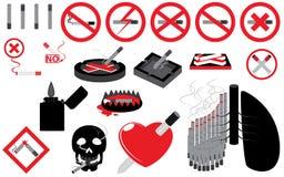 Satz des Nichtraucherzeichens Lizenzfreies Stockfoto