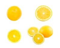 Satz des orange und orange Scheibenisolats auf Weiß mit Arbeitsweg Stockfotografie