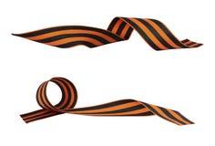 Satz des orange und schwarzen gestreiften Bandsymbols der 9. und 23. Mai Februar Stockbild