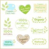 Satz des organischen und natürlichen Ausweistagaufkleber-Emblemaufklebers Stockfotos