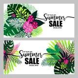 Satz des Plakatsommerschlussverkaufs auf einem modischen tropischen Hintergrund, exotischer Palmenblumenstrauß Karte, Aufkleber,  Stockbilder
