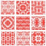 Satz des quadratischen dekorativen nahtlosen Musters der Hintergründe Lizenzfreie Stockfotos