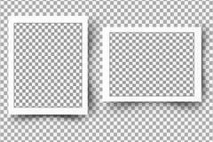 Satz des realistischen Fotorahmens Schablonenfotodesign Stockbilder