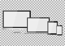Satz des realistischen modernen leeren Bildschirms lcd, geführt, Fernsehen, Monitor, Laptop, Notizbuch, Auflage, Telefon auf Isol vektor abbildung