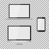 Satz des realistischen modernen leeren Bildschirms lcd, geführt, Fernsehen, Monitor, Laptop, Notizbuch, Auflage, Telefon auf Isol lizenzfreie abbildung