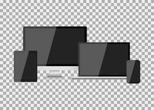 Satz des realistischen modernen leeren Bildschirms lcd, geführt, Fernsehen, Monitor, Laptop, Notizbuch, Auflage, Telefon auf Isol stock abbildung