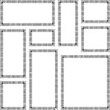 Satz des rechteckigen Rahmengekritzelschwarzen Stockfotografie