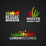 Satz des Reggaemusikentzerrerlogo-Emblemvektors Stockfotos