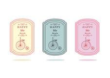 Satz des Retro- Logos der Weinlese wird deutlich und beschriftet Fahrrad, Vektorillustrationen lizenzfreie abbildung