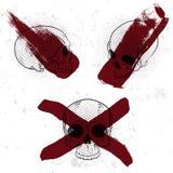 Satz des Retro- Weinleseausweises, -symbols oder -firmenzeichens mit dem Schädel Lizenzfreie Stockbilder