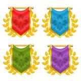 Satz des Ritters Flag mit Lorbeer und Symbol Lizenzfreie Stockfotos