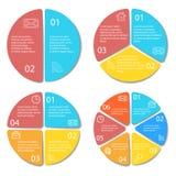 Satz des runden infographic Diagramms Kreise von 2, 3, 4, 6 Elementen oder von Schritten Stockfoto