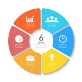 Satz des runden infographic Diagramms Kreise von 6 Elementen oder von Schritten Stockfotos