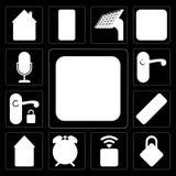 Satz des Schalters, schließend, Sockel, Warnung, intelligentes Haus, Direktübertragung, Handl zu stock abbildung