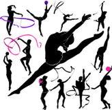 Satz des Schattenbildmädchen-Turnerathleten lokalisiert auf weißem Hintergrund Lizenzfreie Stockbilder