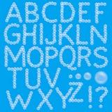 Satz des Schaum-Blasen-Alphabetes Stockfotografie