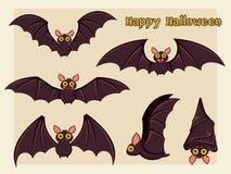 Satz des Schlägerkarikaturvektors Halloween auf Hintergrund stockfotografie