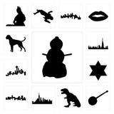 Satz des Schneemannes, Banjo, t-rex, nyc Skyline, Denver-Stern David, Seattle-Skyline auf weißem Hintergrund, Dubai-Boxerhundeiko Stockfotografie
