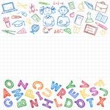 Satz des Schulzeichens und -symbols Stockfotos