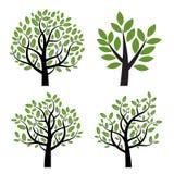 Satz des schwarzen Baums mit grünen Blättern Lizenzfreies Stockfoto
