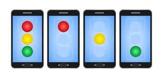 Satz des Schwarzen schaltete Smartphones mit blauer Anzeige mit rotem, gelbem und grünem Licht auf Ampel auf weißem Hintergrund D vektor abbildung