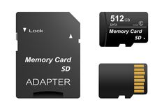 Satz des schwarzen Standards digitale Sd codierte Karten 512 GBs Front und Rückseite mit Gold treten mit Adapter für Sd-Karte auf stock abbildung