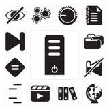 Satz des Servers, weltweit, Archiv, Video-Player, Linien, gedämpft, E stock abbildung
